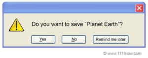 Do you want to save planet earth yes or no
